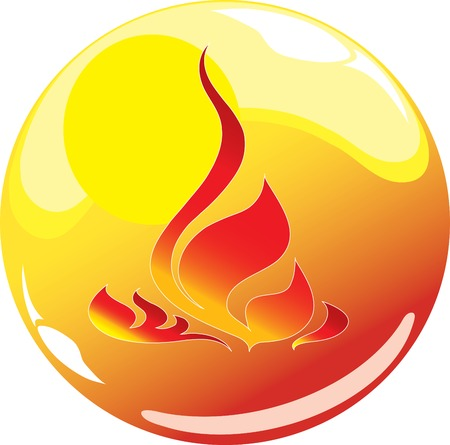 flame sphere icon Illustration