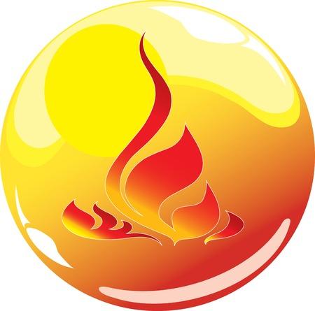 flame sphere icon Illustration