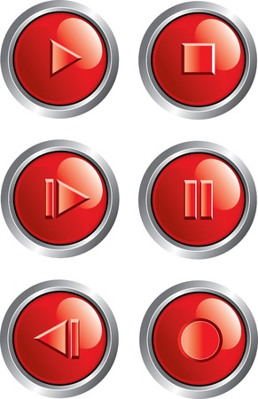 red player buttons Vector
