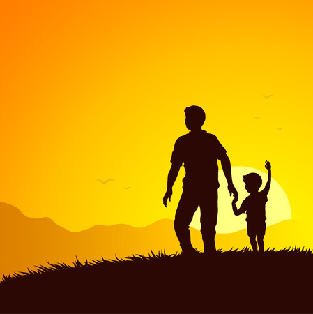 father and sun summer adventure Stock Vector - 7040407