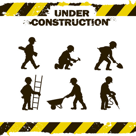construction equipment: worker silhouettes