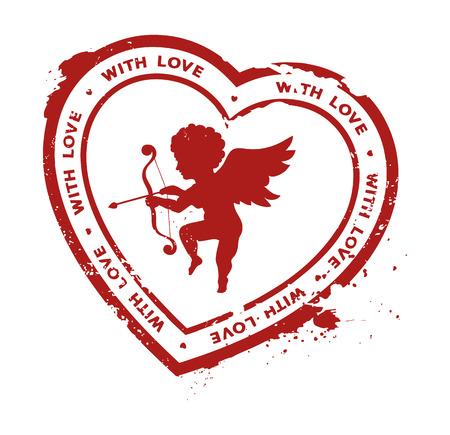 timbre en caoutchouc avec la silhouette de Cupidon