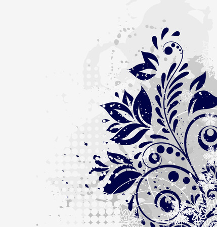 winter floral grunge background Illustration