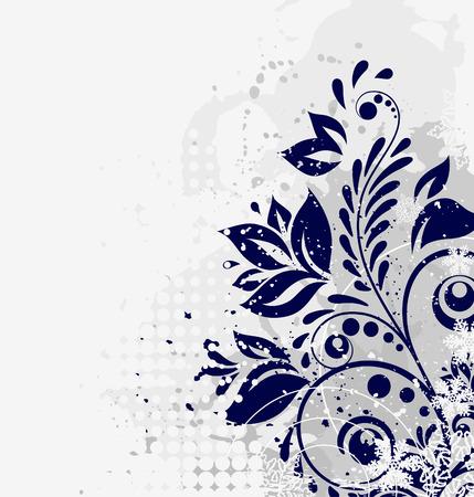 winter floral grunge background Illustration