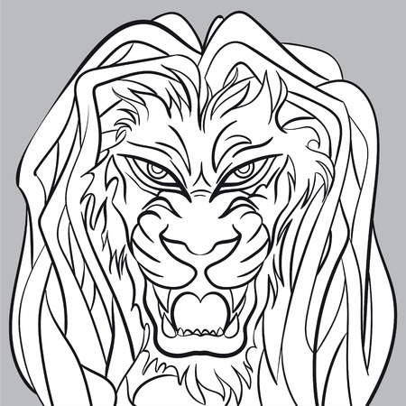 angry lion: Angry lion head - editable vector graphic