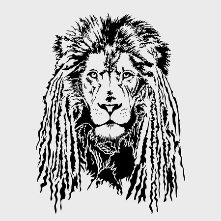Lion head with dreadlocks - editable vector graphic