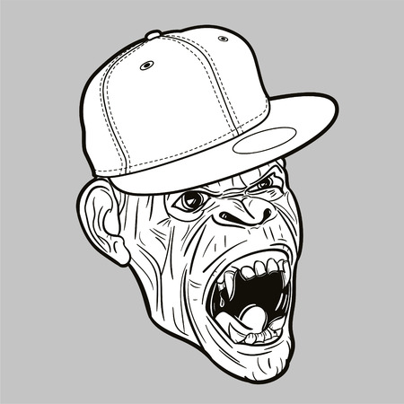 Angry ape with baseball cap - editable vector graphic Illustration