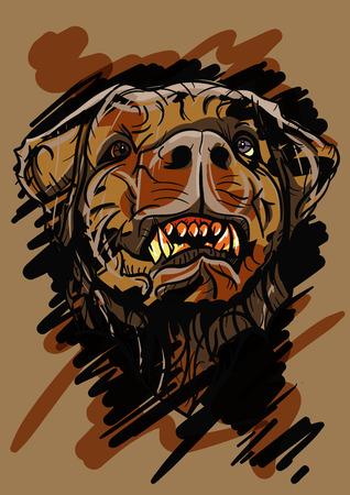 dog bite: Dog head illustration - editable vector graphic Illustration