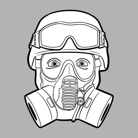 army gas mask: M�scara de gas soldado - gr�fico vectorial editable