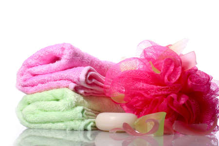 Handmade soap and washcloth a white background photo