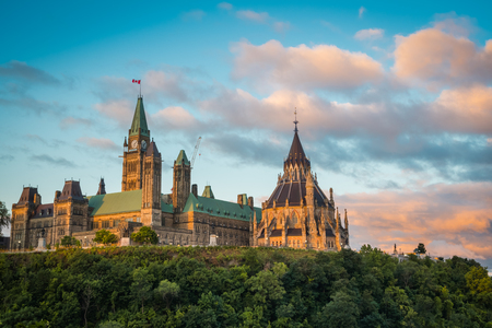 OTTAWA, ONTARIO  CANADA - AUGUST 06 2017: VIEW ON PARLIAMENT HILLS IN THE MORNING