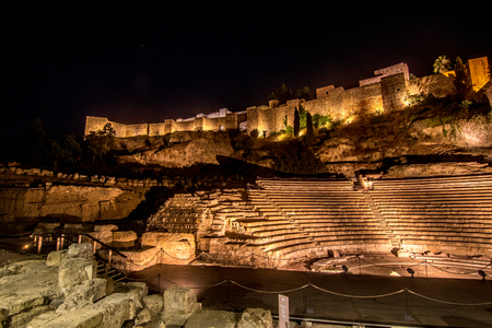 Roman amphitheater at nigh in Malaga, Spain Banque d'images - 95006755