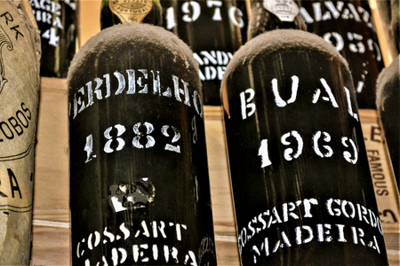 FUNCHAL, MADEIRA  PORTUGAL - FEBRUARY  2017: VINTAGE WINE BOTTLES Editorial