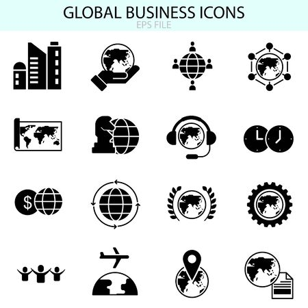 Global business icons vector set