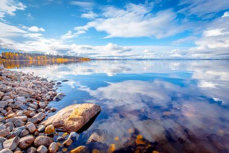 Autumn lake view from Kajaani, Finland. 写真素材