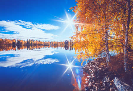 Autumn lake view from Sotkamo, Finland.