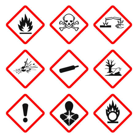 GHS pictogram hazard sign set. Isolated on white background. Dangerous, hazard symbol icon collection. Vector illustration image. 写真素材 - 150695065