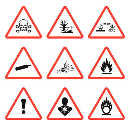 GHS pictogram hazard sign set. Isolated on white background. Dangerous, hazard symbol icon collection. Vector illustration image. Vecteurs