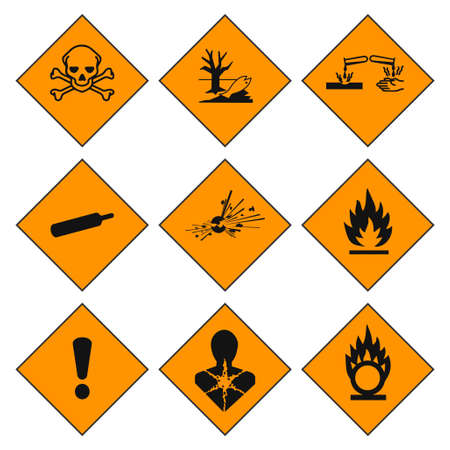 GHS pictogram hazard sign set. Isolated on white background. Dangerous, hazard symbol icon collection. Vector illustration image. 写真素材 - 150695055