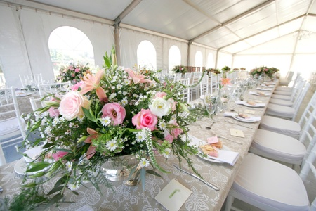 A table setup for a wedding reception in a big tent Stock Photo - 10435341