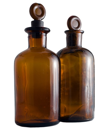 Two bottles of chemicals  Amber  Isolated on white background Stock Photo