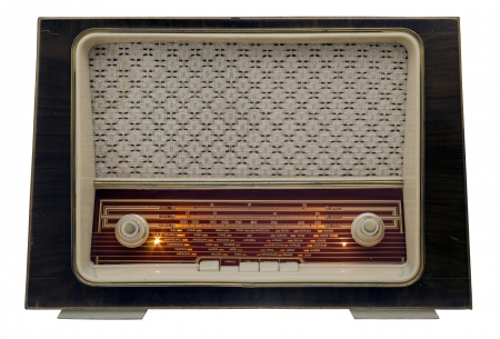 Ancient radio, 50s, isolated on white background photo