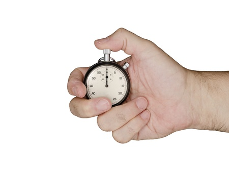 Hand holds a stopwatch  Stopwatch points at zero
