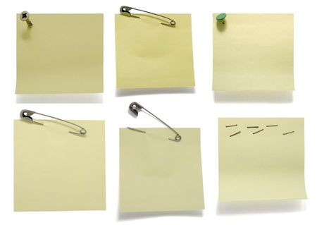 Six post its on white with drop shadow photo