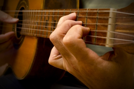 a shot of a Spanish guitar being played with shallow depth of field photo