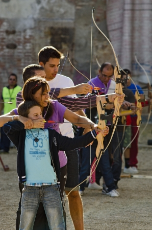 Practice archery at the celebration of the fair and festivities of the Virgin of St  Lawrence on September 2, 2012 in Valladolid, Spain