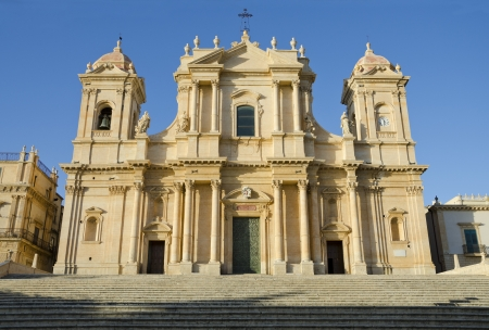 the Cathedral in late Baroque style town Noto, Sicily, Italy Stock Photo