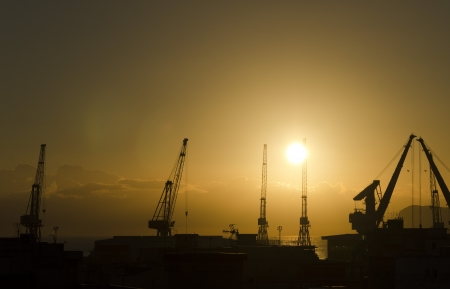 Palermo harbor cranes backlit photo