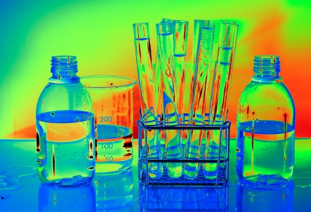 Laboratory glass, Backlight colorful background Stock Photo - 16531503