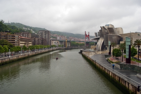 Nervion River as it passes by Bilbao Park, the Guggenheim museum, Univertisy and bridge La Salve, Euskadi, Spain. Basque Country.