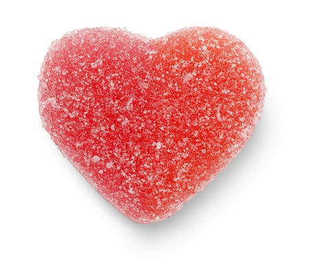 Close-up of a blank pink candy heart, isolated on white  Add your own text