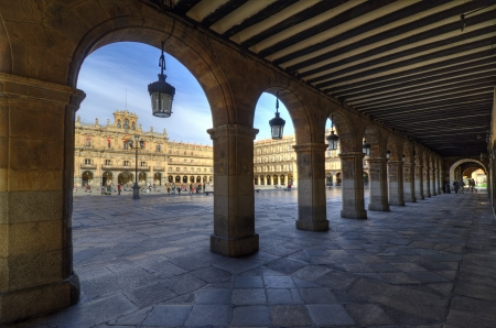 Plaza Mayor in Salamanca. View of the town hall building (Ayuntamiento). Dates from the beginning of the 18th century, is the central square of the city.