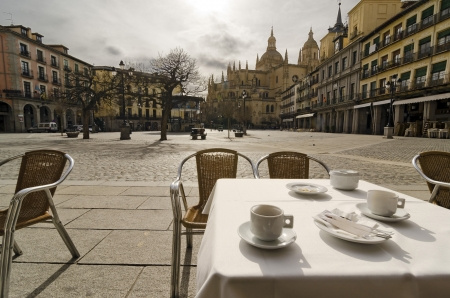 having coffee in the main square of Segovia, Spain Stock Photo
