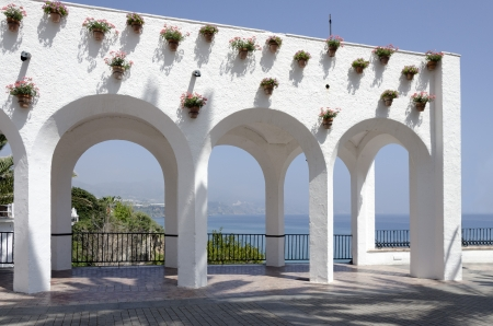 Beautiful architectural feature in Nerja ,Spain  Also known as Balcon de Europa Stock Photo