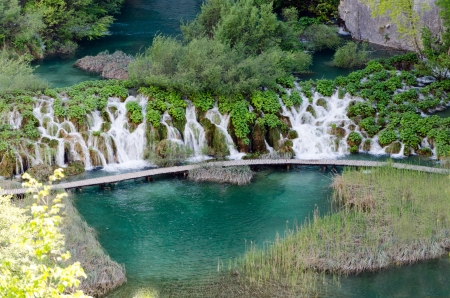 Lake and Waterfall in Plitvice Lakes, Croatia. Stock Photo