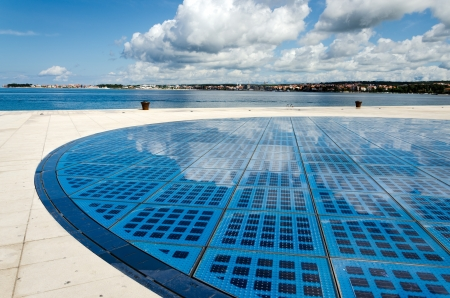 blue wide photovoltaic solar panel against sky Zadar Croatia photo