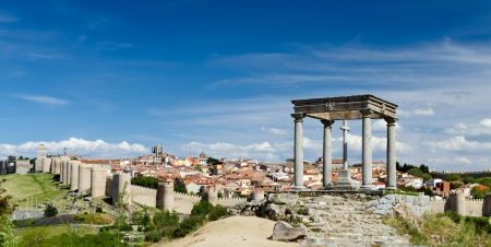 View from Four Posts Point at the City of Avila, Spain
