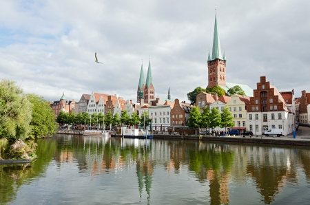 Skyline of the medieval city of Lubeck in northern Germany