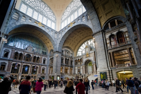 ANTWERP, BELGIUM - OCTOBER 26: The main hall of the famous Antwerp Railway train station, also known as the cathedral amongst stations on October 26, 2013 in Antwerp, Belgium
