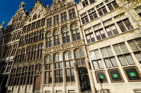 ANTWERP, BELGIUM - OCTOBER 26: Guild Houses of the 15th century in the Grote Market on October 26, 2013 in  in Antwerp, Belgium. The Grote Market is the Main Square of the city.