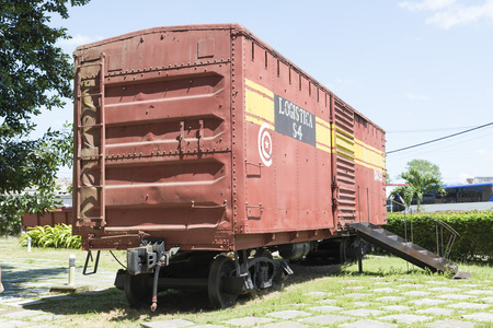 SANTA CLARA, CUBA - MAY 9: Train memorial on May 9, 2014, Santa Clara, Cuba. This train packed with government soldiers was captured by Che Guevaras forces during the revolution.