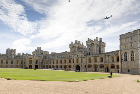 WINDSOR, UNITED KINGDOM - JUNE 6, 2014  Outside view of Medieval Windsor Castle  Windsor, England  Windsor Castle is a royal residence at Windsor in the English county of Berkshire