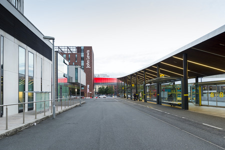LIVERPOOL, UNITED KINGDOM - JUNE 9, 2014: Liverpool One Bus Station is located in Canning Place. Formerly known as Paradise Street Interchange. It was re-built in November 2005 as part of the Liverpool Paradise Street re-development, and rebranded in Sept