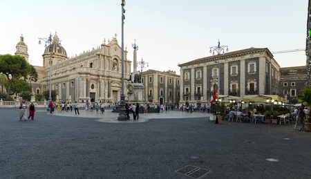 santagata: CATANIA, SICILY, ITALY - SEPTEMBER 27, 2012: View of Giovanni Battista Vaccarinis Duomo di SantAgata and U Liotru, in Cathedral Square, on September 27, 2012 in Catania, Italy