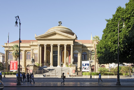 massimo: PALERMO, SICILY, ITALY - OCTOBER 3 2012: exterior view of the Teatro Massimo opera house called. It was dedicated to King Victor Emanuel II. It is the biggest in Italy, and one of the largest of Europe, on October 3, 2012 in Palermo, Sicily, Italy Editorial