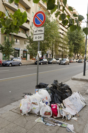 anywhere: PALERMO, SICILY, ITALY - OCTOBER 3, 2012: The bags of garbage accumulate anywhere in the town and there seems no rubbish collection service, on October 3, 2012 in Palermo, Sicily, Italy